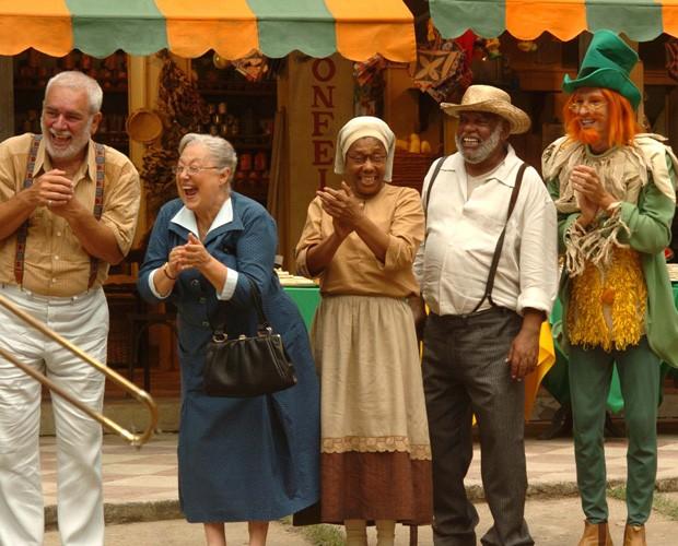 Dona Benta, Visconde de Sabugosa (Aramis Trindade), Tio Barnabé (João Acaiabe) e Tia Nastácia (Dhu Moraes) (Foto: Arquivo pessoal)