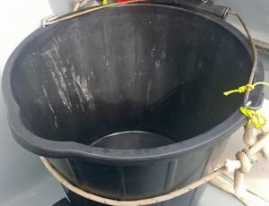 """""""A privada"""", brinca Caê sobre balde para fazer necessidades durante a viagem (Foto: Reprodução)"""