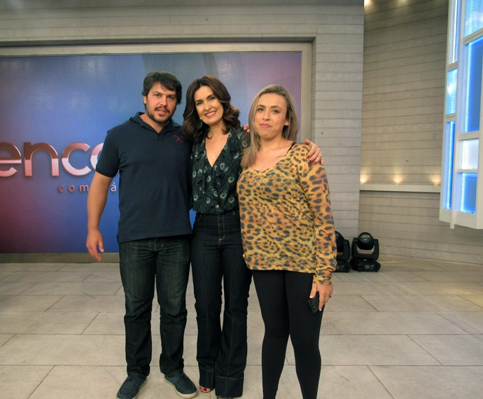 Nina com o namorado e a Fátima no 'Encontro' (Foto: Viviane Figueiredo Neto/Gshow)