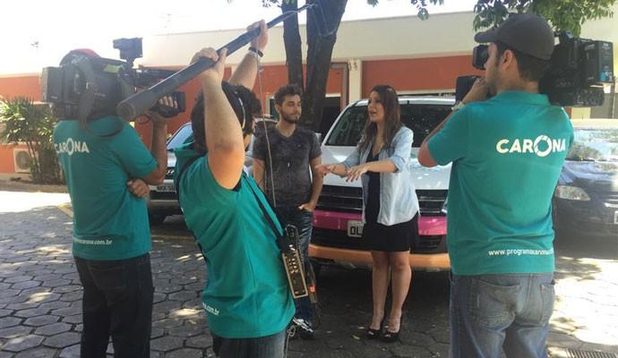 Gustavo Mioto na gravação do Carona (Foto: Nágila Moraes)