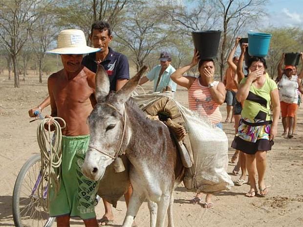 Agricultores fazem peregrinação diária para conseguir água (Foto: Agência Diário)