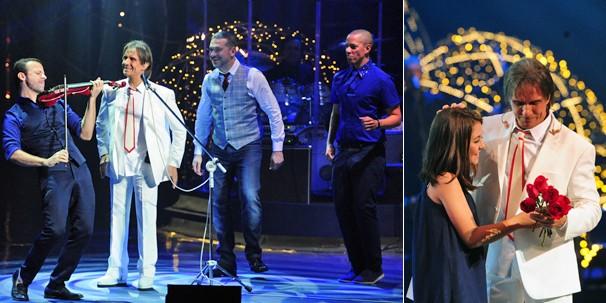 """Roberto Carlos canta um medley de canções do CD """"Reimix"""" e recebe Klara Castanho no palco (Foto: Estevam Avellar/Globo)"""