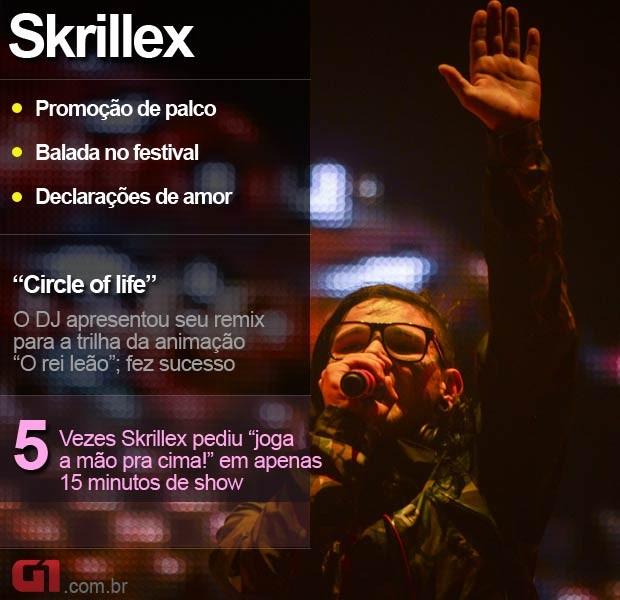 Skrillex no Lollapalooza (Foto: Flavio Moraes/G1)