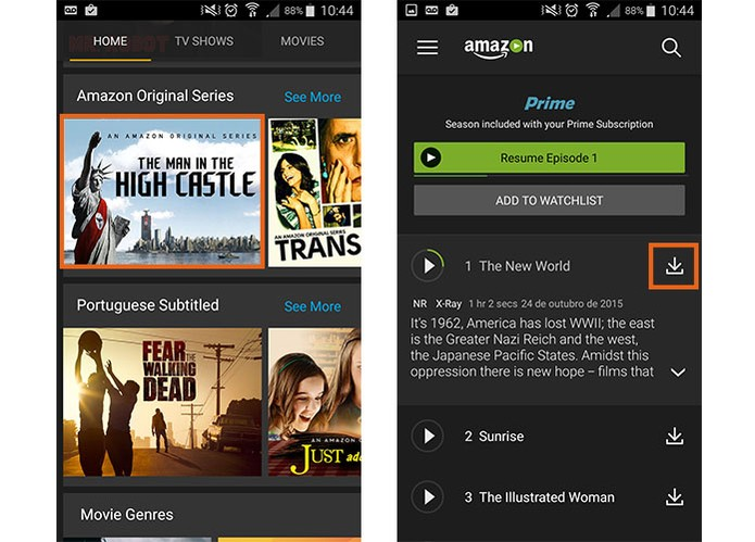 Selecione a série para fazer o download no Amazon Prime Video pelo celular (Foto: Reprodução/Barbara Mannara)