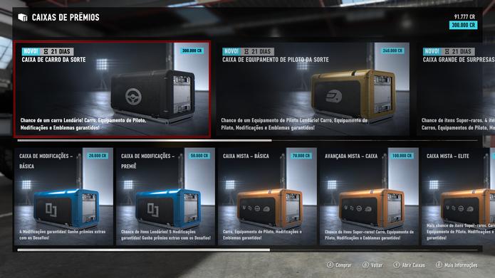 Caixas de Prêmios de Forza 7 (Foto: Reprodução / Diego Borges)