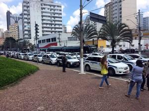 Protesto de taxistas contra o aplicativo Uber, em Campinas (Foto: Felipe Albertoni)