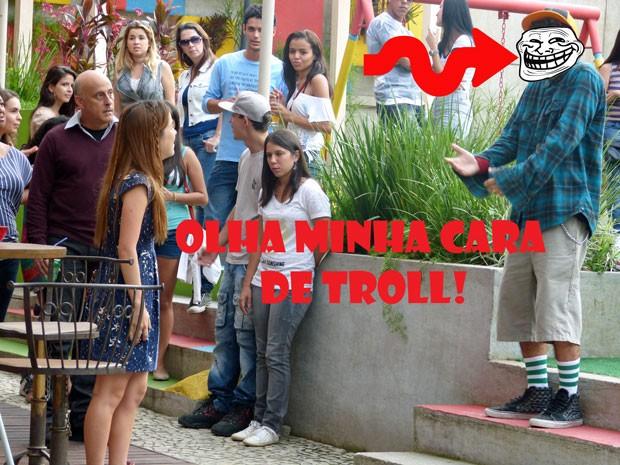 Que troll! Orelha tava se fingindo de apaixonado! Tadinha da Morg, cara! (Foto: Malhação / Tv Globo)