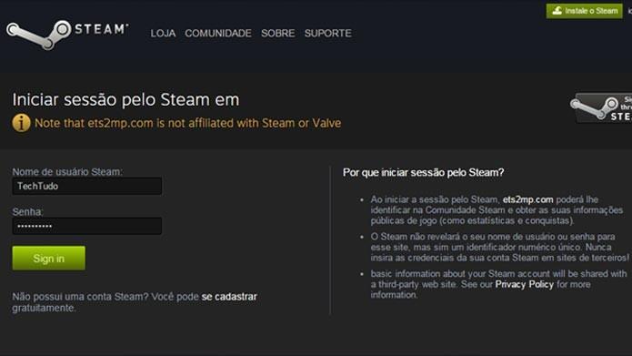Faça o cadastro no site com a sua conta do Steam (Foto: Reprodução/Tais Carvalho)