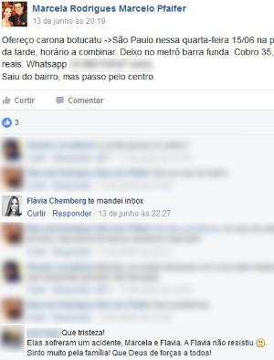 Motorista ofereceu carona nas redes socias  (Foto: Facebook/reprodução )