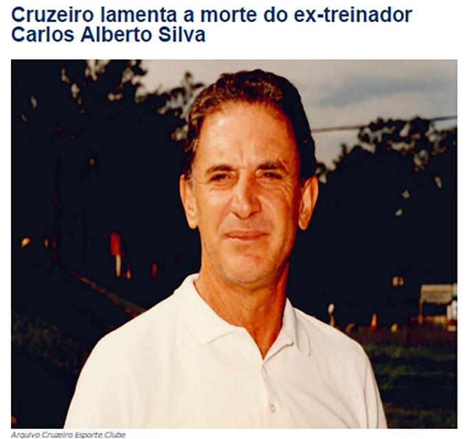 Homenagem do Cruzeiro para Carlos Alberto Silva (Foto: Site do Cruzeiro)
