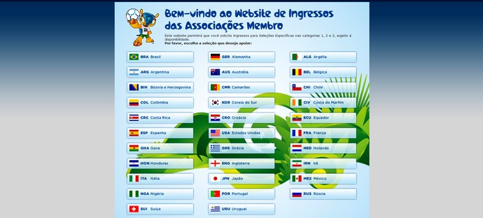 Reprodução site FIFA venda de ingressos copa do mundo (Foto: Reprodução)