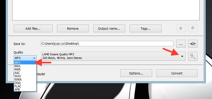 Definindo o arquivo de saída do Free Video To MP3 para o MP3 (Foto: Reprodução/Marvin Costa)
