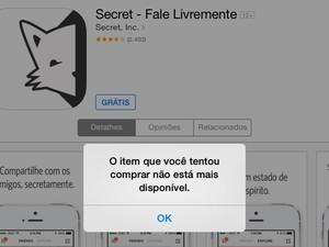 Aplicativo Secret não podia mais ser baixado na loja de apps da Apple nesta quinta-feira (21) (Foto: Reprodução/Apple)