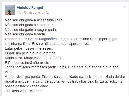 Vinicius Rangel, integrante da escola (Foto: Reprodução/Facebook)