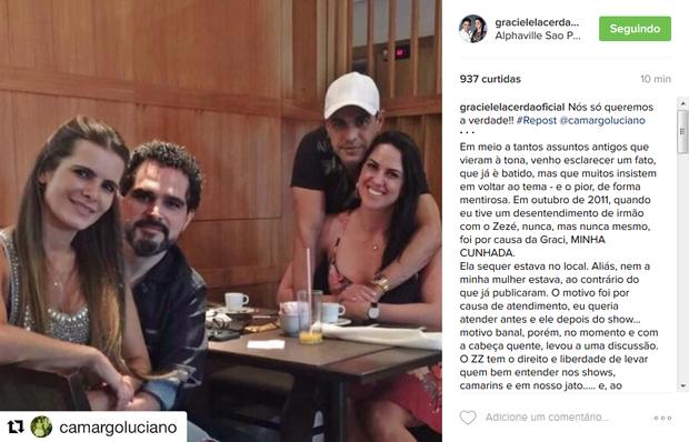 Graciele Lacerda compartilhou a publicação de Luciano (Foto: Reprodução/Instagram)