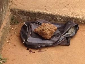 Recém-nascido estava enrolado em saco, dentro de mochila, em Aparecida de Goiânia (Foto: Adriano Zago/G1)