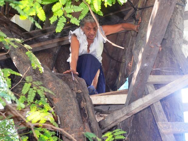 Rosilene Costa saindo da casa na árvore (Foto: Valéria Oliveira/ G1)
