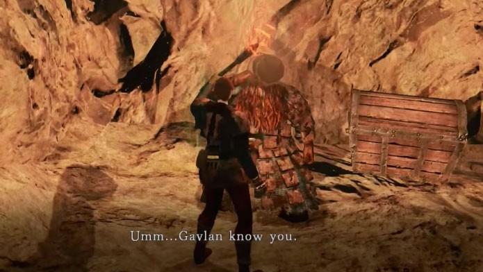 Gavlan aparece em uma pequena caverna em Harvest Valley (Foto: Reprodução/Youtube)