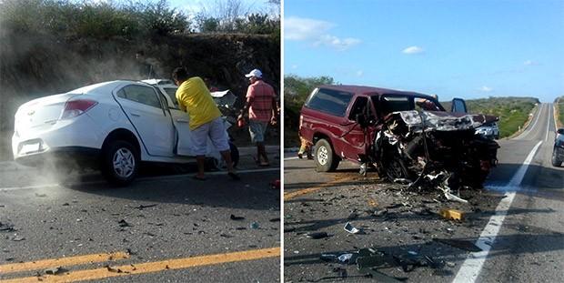 Prisma e Bonanza colidiram frontalmente na BR-226, próximo ao Povoado Cruz, entre Currais Novos e Santa Cruz (Foto: Divulgação/PRF)