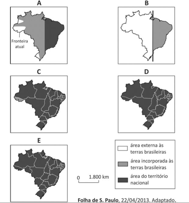 Opções de mapa com território brasileiro (Foto: Reprodução/Fuvest)