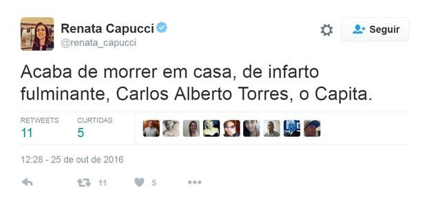 Renata Capucci lamenta a morte de Carlos Alberto Torres (Foto: Reprodução/Twitter)