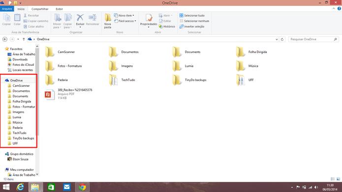 OneDrive pode ser acessado normalmente através da área de trabalho do Windows (Foto: Reprodução/Elson de Souza)