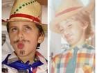 Davi, filho de Claudia Leitte, faz caras e bocas em festa junina