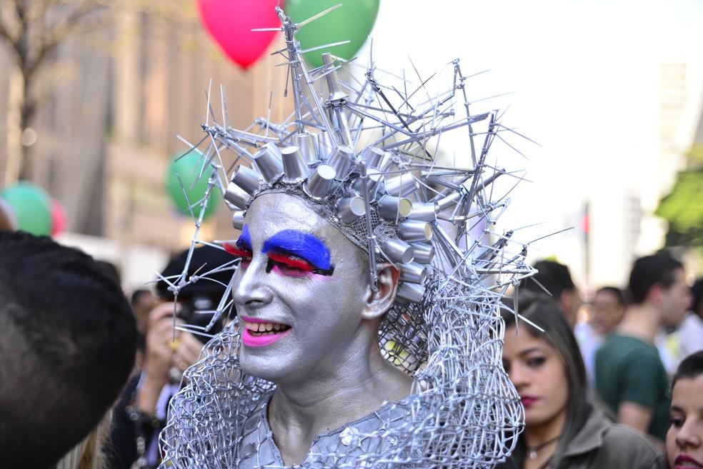 Participante da Parada do Orgulho LGBT neste domingo (18) em São Paulo (Foto: RODRIGO PIVAS/FUTURA PRESS/ESTADÃO CONTEÚDO)