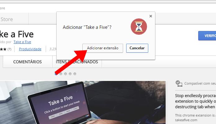 Instale a extensão no Take Five no Chrome (Foto: Reprodução/Paulo Alves)