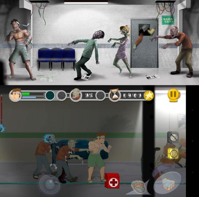 Arte conceitual de Dead Punch Hospital acima, e o jogo na prática, abaixo (Foto: Divulgação)