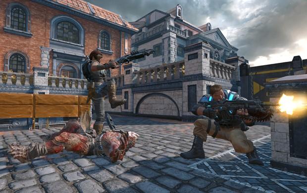 Trabalhar em equipe é importante para se dar bem em 'Dodgeball', novo modo multiplayer de 'Gears of War 4' (Foto: Divulgação/Microsoft)