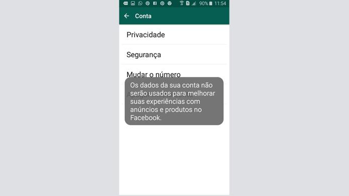 WhatsApp informa que dados não são mais compartilhados com Facebook (Foto: Reprodução/WhatsApp)