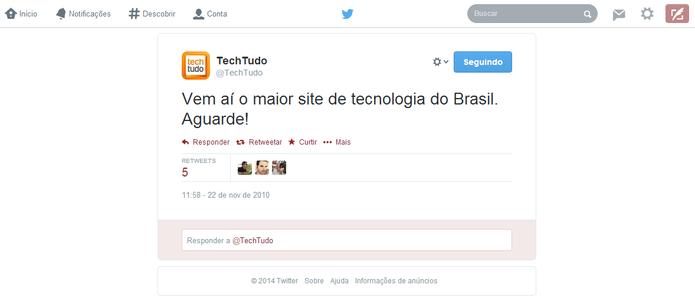 Primeiro tuíte do TechTudo foi publicado no dia 22 de novembro de 2010 (Foto: Reprodução/Elson de Souza)