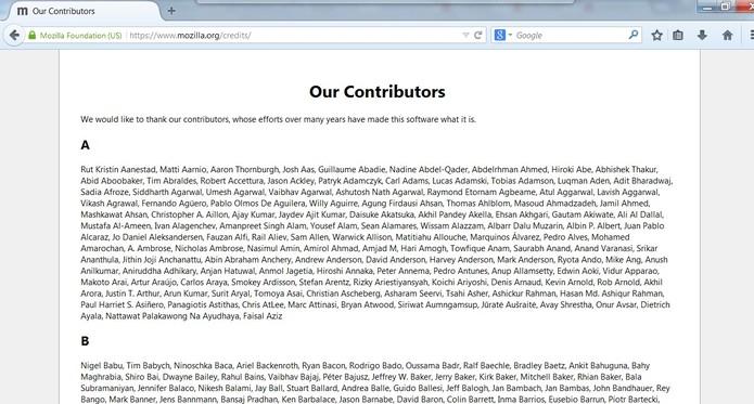 Página lista os responsáveis por tornar o Firefox o que ele é hoje (Foto: Reprodução/Mozilla)