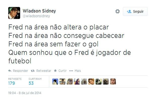 O baixo rendimento de Fred virou paródia de uma canção da banda Skank (Foto: Reprodução/Twitter/wladsonsidney)