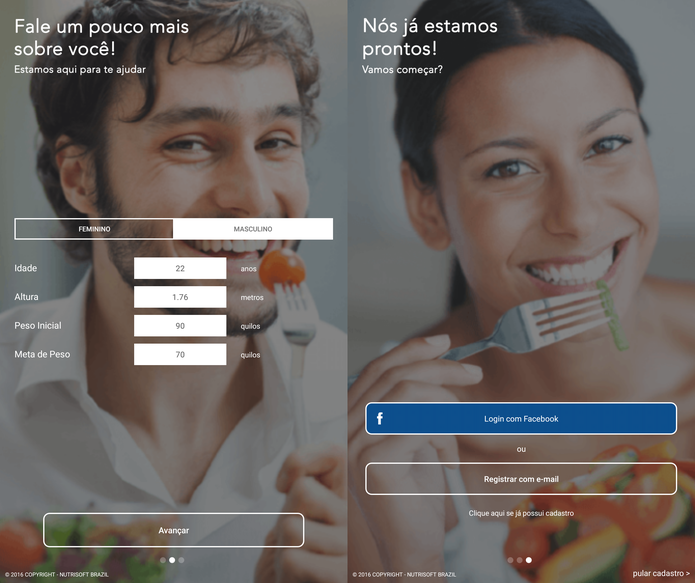 Faça o seu cadastro em Dieta para Emagrecer com informações corretas (Foto: Reprodução/Caio Fagundes)