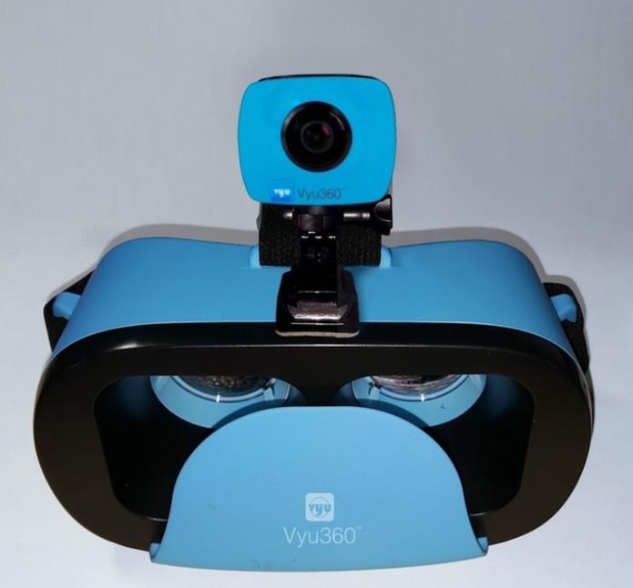 Com o óculos, é possivel imersão completa na imagem para visualização do que foi capturado (Divulgação/Vyu360)