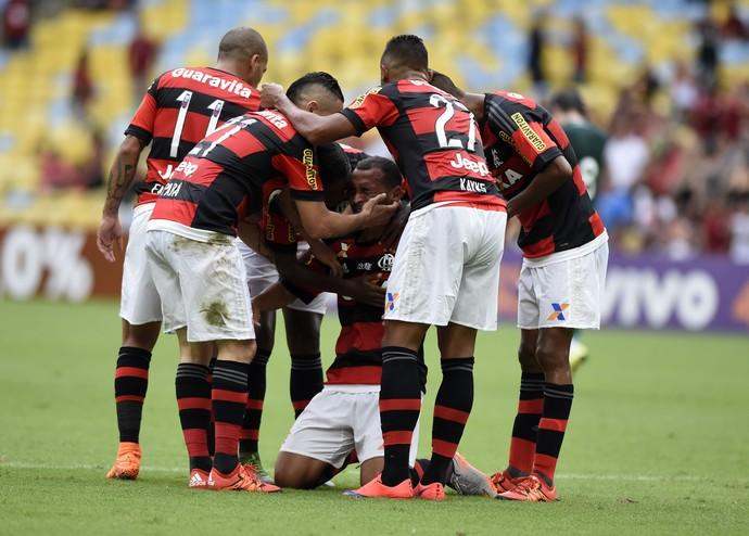 comemoração do gol de alan patrick, Flamengo x Goiás Campeonato Brasileiro 2015 (Foto: andré durão)