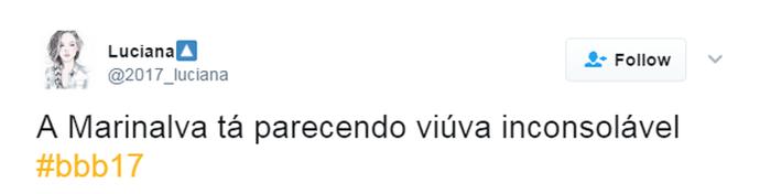 Tuíte Marinalva (Foto: Reprodução Twitter\@2017_luciana)