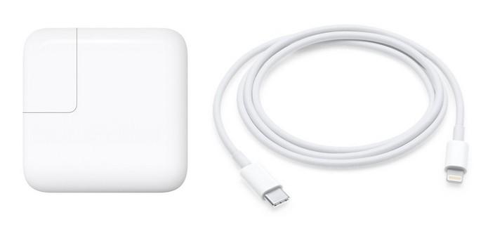 Carregador de 29W e Cabo de USB-C para Lightning originais (Foto: Divulgação/Apple)