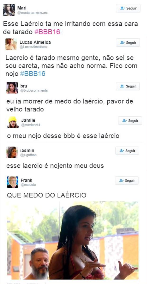 Comentários sobre o participante Laércio, do BBB16 (Foto: Reprodução / Twitter)