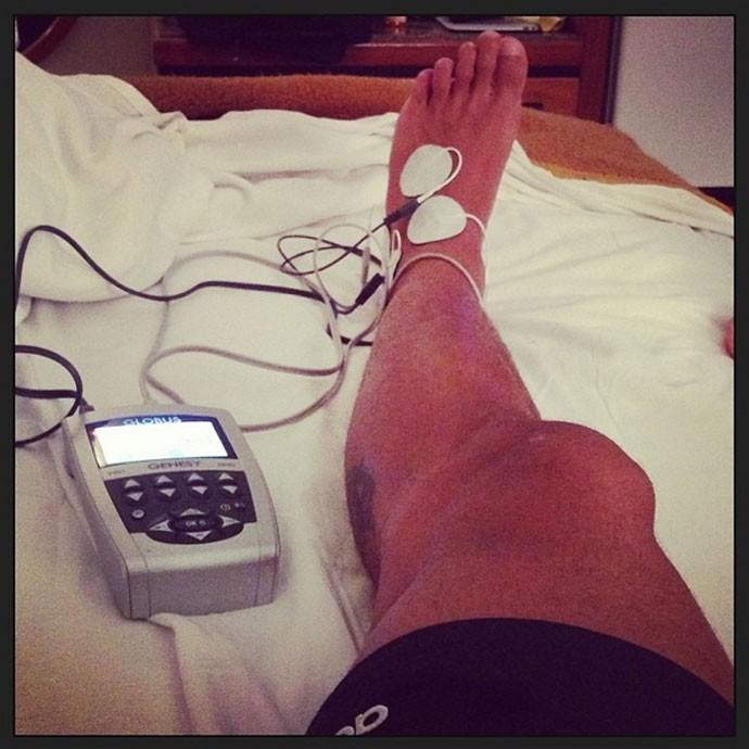 Flamengo - André Santos no tratamento pela manhã (Foto: Reprodução / Instagram)