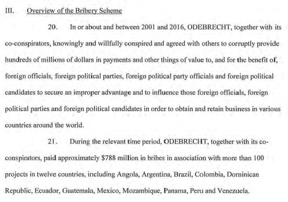 Trecho de documento sobre a Odebrecht divulgado pelo Departamento de Justiça dos Estados Unidos aponta que a empreiteira admitiu o pagamento de US$ 788 milhões em propina (Foto: Reprodução/Departamento de Justiça dos Estados Unidos )