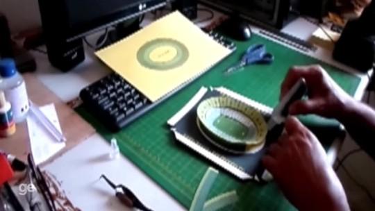 """Palcos do futebol viram arte nas mãos do """"arquiteto dos sonhos em papel"""""""