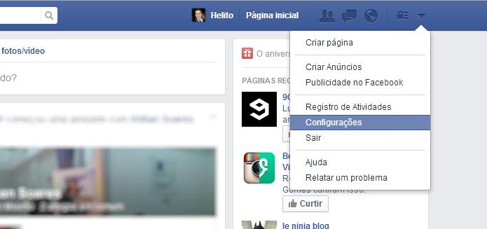 Acesse as configurações do Facebook (Foto: Reprodução/Helito Bijora)
