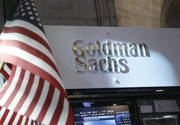 Vista do logotipo do Goldman Sachs na Bolsa de Valores de Nova York (Foto: Brendan McDermid/Reuters)