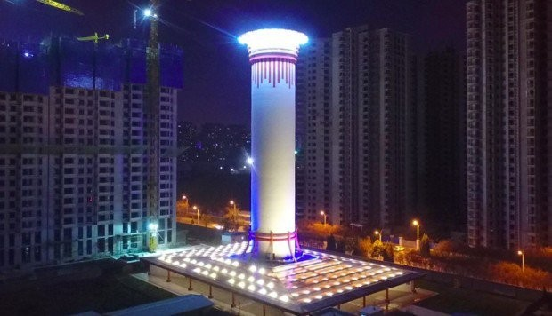 Purificador de ar gigante na China (Foto: Reprodução/Twitter)
