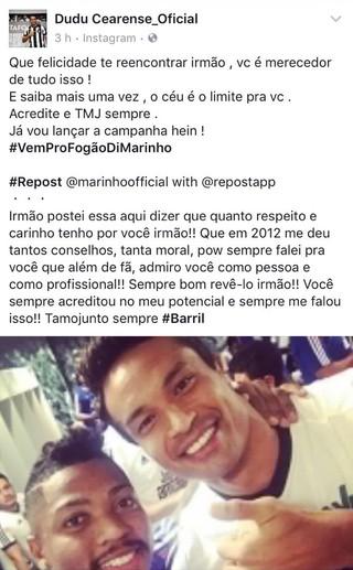 Marinho e Dudu Cearense Botafogo  (Foto: Reprodução/Facebook)