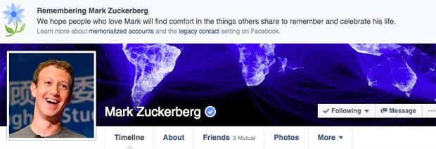 Notificação no perfil de Mark Zuckerbeg declarava o cofundador e presidente-executivo da rede social como morto. (Foto: Reprodução/Facebook)