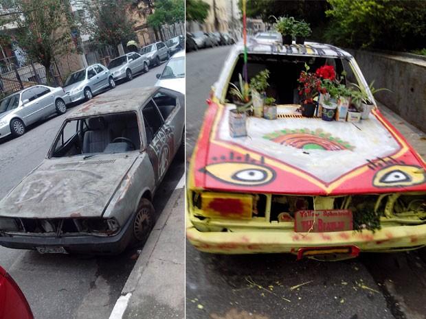 Leitor mostra o antes e o depois do carro que recebeu nova pintura na Zona Sul de SP (Foto: Daniel Gomes/VC no G1)